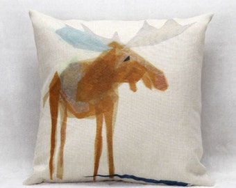 Water paint moose cushion cover, pillow cover