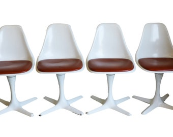 Set Of Four Mid Century Modern Tulip Chairs By Burke