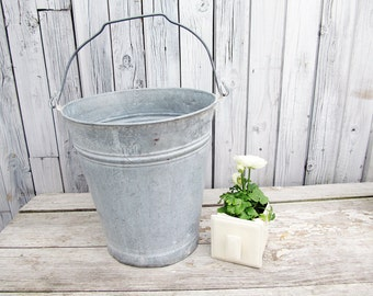 large vintage galvanized gardening bucket/pail, Zinc Bucket  Galvanized Pail Farmhouse Made in Germany