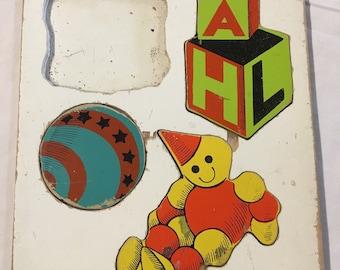 Vintage wooden of My Toys  puzzle by Playskool craft nursery art children