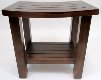"Curved Top Teak Stool with Rack, 18""l x 12""w x 18""h, TCT-18"