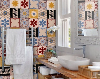 Moroccan Patchwork Mix Wallpaper Removable Vinyl Wallpaper - Peel & Stick - No Glue, No Mess