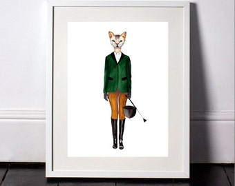 Cat in clothes print- cat the horse rider-animals in clothes art print-cat art print-dressedfur-modern art print-fashion illustration