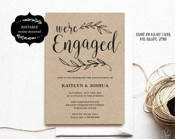 Engagement Invitation Template, Printable Engagement Party Invitation,  Kraft Invitation, INSTANT DOWNLOAD, Editable Text, ENG01, VW01