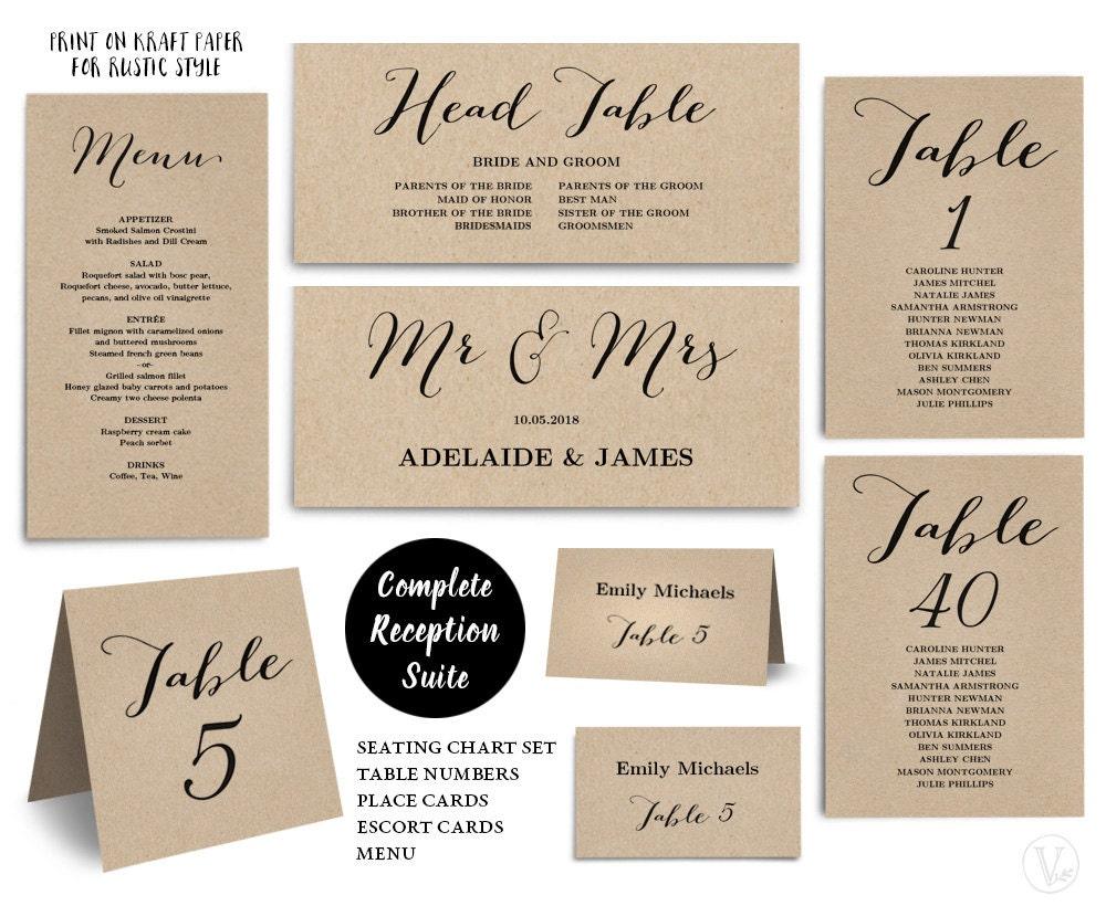 reception set bundle printable wedding seating chart