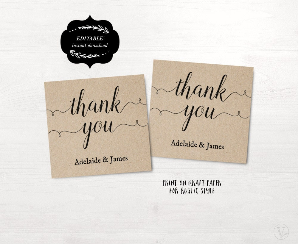 Wedding Favor Tags, Printable Wedding Favor Tag Template, Thank You ...