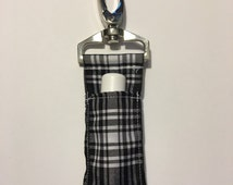 Black and White plaid Chapstick Keychain