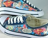 Comic Book Shoes, Marvel, DC, Thundercats, Beano, Customised, Decoupage, OOAK, Sneakers, Unisex