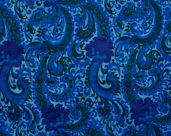 Royal blue, turquoise, purple and green silk paisley-esque pattern gorgeous drape and feel - vintage silk fabric