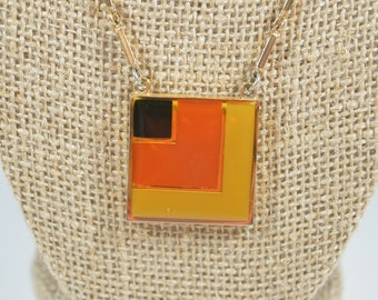 Sarah Coventry Front Row Necklace Square Pendant Yellow Orange Black Square Design Sarah Coventry Jewelry