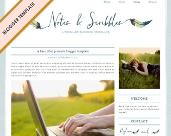 Blogger Template - Premade Blog Design - INSTANT DOWNLOAD - Notes & Scribbles Theme