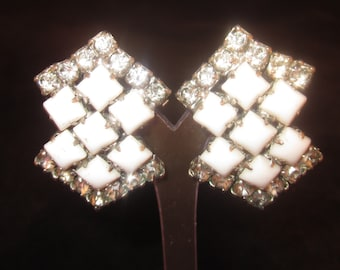 Vintage Milk Glass and Rhinestone Clip on Earrings- Bridal