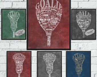 Personalized Lacrosse Stick Word Art-Every Position Available for MENS & WOMENS Lacrosse Player Gift, Lacrosse Coach Gift, Lacrosse Wall Art