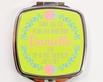 Personalised Handbag Square Compact Mirror Bridesmaid thank you gift wedding present