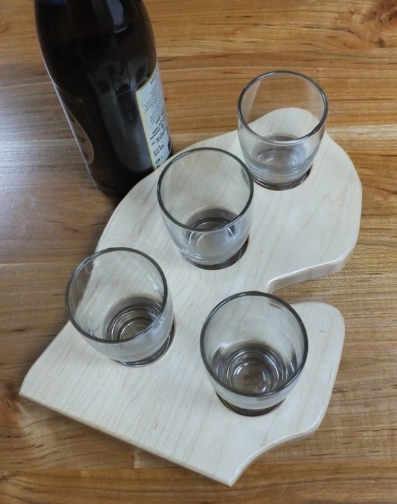 Michigan  Beer Flight. Lower Peninsula with four taster glasses. Great gift for the home brewer, Michigan lover, beer lover.