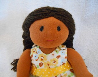 Waldorf doll, cloth, tissue, 24cm caramel skin, yellow dress
