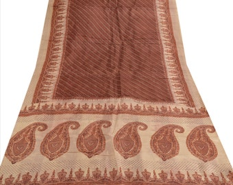 KK Pure Silk Saree Cream Printed Sari Cultural Craft Fabric