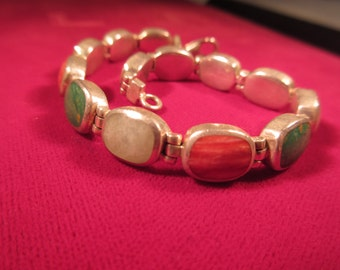 Tribal Sterling Silver Multi Stone Bracelet