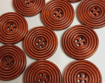 25pcs Wooden Buttons - 25mm - Sewing Buttons - Coat Buttons Large - 4 Hole Buttons - Coffee Buttons - B21388