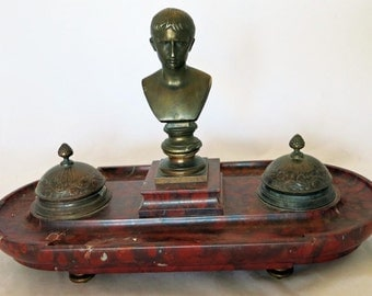 Napoleon Bust Ink-Well-Stand-France-circa-1890s-Bronze-and-Red-Marble