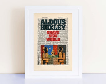 Brave New World by Aldous Huxley Print on an antique page, bookcoverart