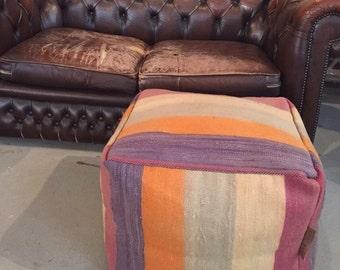 NEW! Handmade unique kilim Moroccan pouf,poef,osmane,puff,ottoman,foot stool,floorpillow