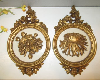 Pair of Vintage 70's Syroco Floral Wall Plaques #7490 Gold & Beige-Vintage Rustic Farmhouse Floral Plaques-Cottage Chic Gold Wall Plaque Set
