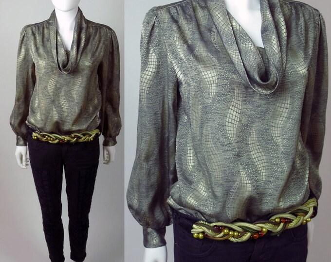 80s futuristic silver metallic silk jacquard cowl neck disco blouse top