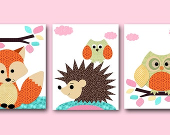 Pink Orange Mint Fox Owl Hedgehog Digital Print Digital Download Instant Download Baby Girl Nursery Decor Digital Art set of 3 8x10 11X14