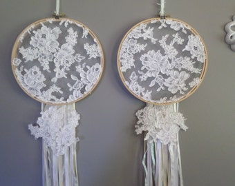 Bridal Lace, Embroidery Hoop, Wall Decor