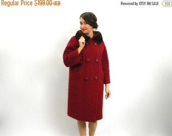 Summer SALE 60s Red Boucle Wool Coat with Mink Collar | Dark Red Winter Coat | Large