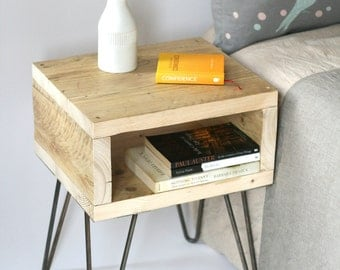 Blondie bedside table. Handmade side table made from reclaimed wood. Scandinavian look with mid-century modern style hairpin legs