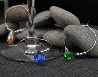 5 Colorful Acrylic Beads Wine charms/Rings