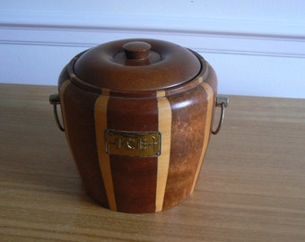 Delightful Real Wood Banded Ice Bucket Made by Lancraft