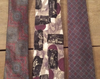 Vintage Mod Mad Man Tie Trio--3 total 1970s D409-2