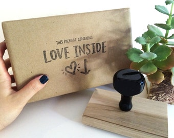 This Package Contains Love Inside, Rubber Stamp by Hawaii Calligraphy