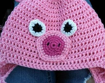 Adult Pig Crochet Earflap Beanie