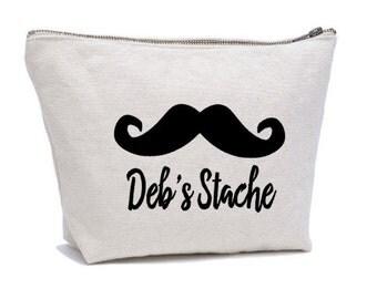 Personalised MakeupBag , Cosmetic Bag , Moustache Bag ,  Stache Pouch , Purse Pouch ,  Small Clutch , Zipper Pouch