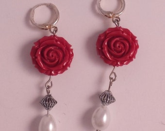 Earrings pink red and White Pearl