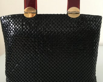 Black 1960s Mesh Purse with Awesome Handles