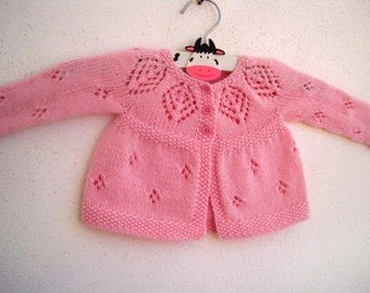 Isla Cardi - Knitting Pattern - Baby girl to age 6 cardigan - Instant Download PDF