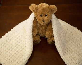 Hand Made Off White Crochet Baby Blanket