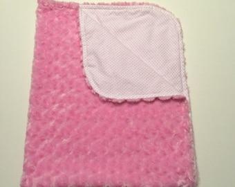 Pink Minky Baby Blanket, Baby Girl Blanket, Pink Baby Blanket, Girl Nursery, Baby Girl Bedding, Crib Blanket, Stroller Blanket,