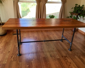 Reclaimed Wood And Pipe Table. Industrial Table. Black Iron Pipe Table.  Reclaimed Wood