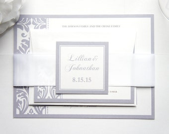 Gray Wedding Invitation - Silver Wedding Invitation, Damask, Belly Band, Formal, Elegant Invitation Set, Wedding Invites - SAMPLE SET