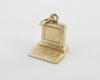 14k Yellow Gold 3D Computer Lap Top Charm Pendant free shipping