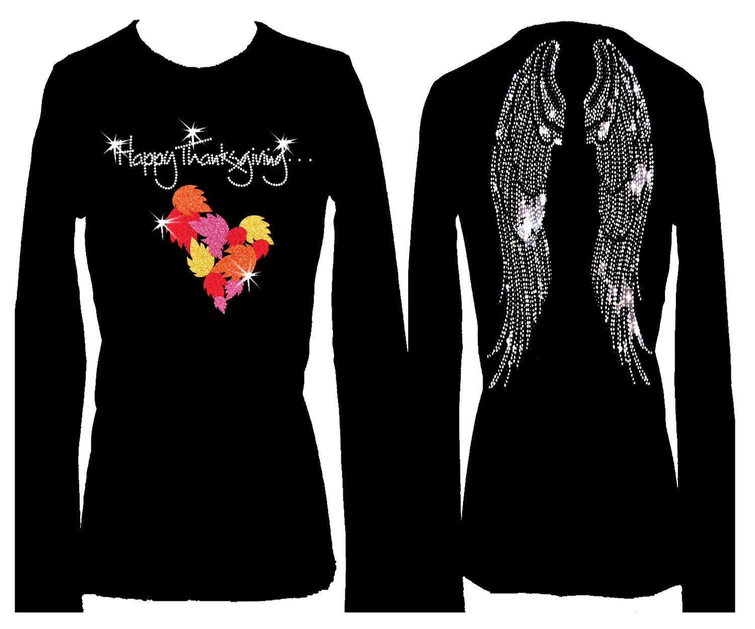 Happy thanksgiving angel wings holiday rhinestone bling for Women s embellished t shirts