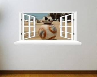 3D Window Star Wars R.D.D.2r wall decal (STICKER)