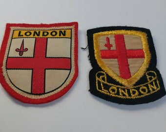 Two vintage London patches British city souvenir