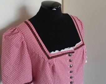 Vintage dirdnl farm dress country fantasy rustic full lenght roses